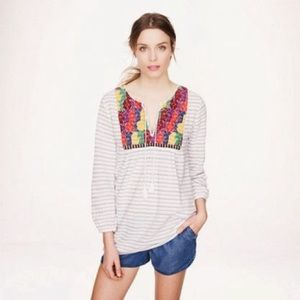 J. Crew Embroidered Striped Tunic Blouse Large